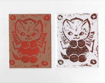 Handmade Notecard * Smiling Kitten with Bow * Linocut * Brown on White or Orange on Brown