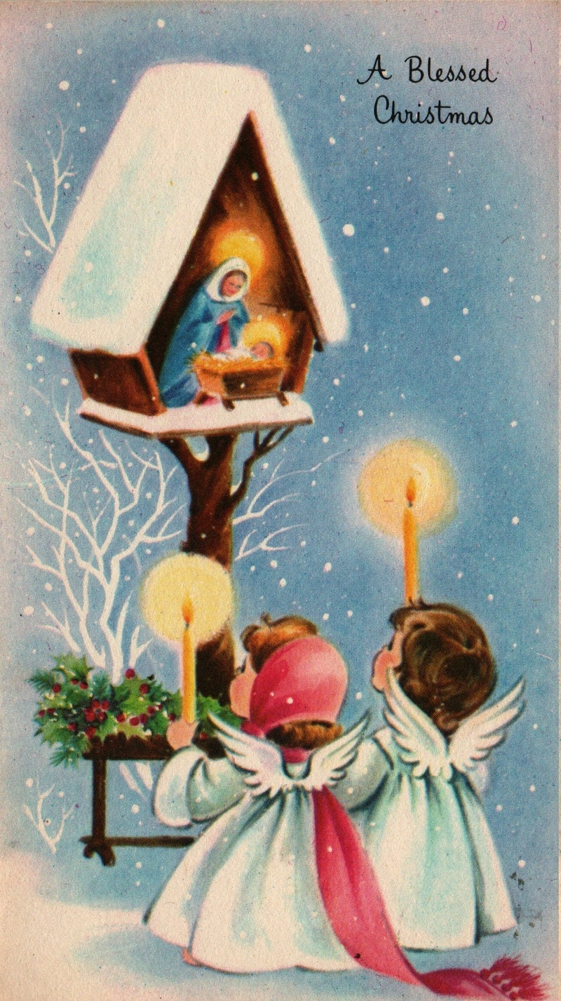 A Blessed Christmas Tiny Nativity With Angels And Candles Vintage