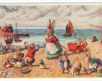 Seaside Fun * Rabbit Family * Beach Scene * 238 * Racey Helps * The Medici Society * Great Britain * Vintage Postcard