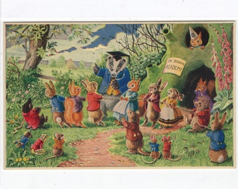 The Tug O War * Woodland Animals * School Games * 257 * Racey Helps * The Medici Society * Great Britain * Vintage Postcard