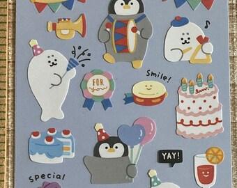 Chill Friends Sticker * Party * Penguin * Seal * Japanese Sticker Set