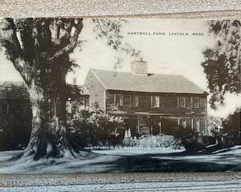 Hartwell Farm * Lincoln * Massachusetts * Cancelled Stamp * Artvue * Vintage Postcard