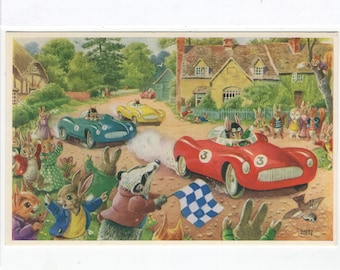 The Motor Race * Cars * Rabbits * 295 * Racey Helps * The Medici Society * Great Britain * Vintage Postcard