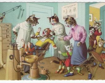 Mainzer Cats * Dentist Office * 4872 * Alfred Mainzer * Eugen Hartung * Belgium * Unused * Vintage Postcard * Deckle Edge