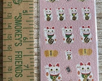 S & C Corporation * Medetai * Maneki Neko * Beckoning Cat * Japanese Sticker Set