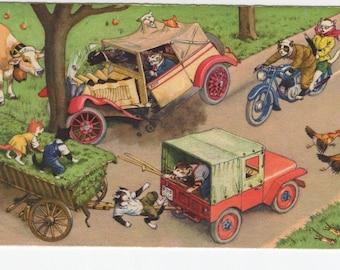 Mainzer Cats * Farmer Crash * 4749 * Alfred Mainzer * Eugen Hartung * Max Kunzli * Switzerland * Unused * Vintage Postcard * Deckle Edge