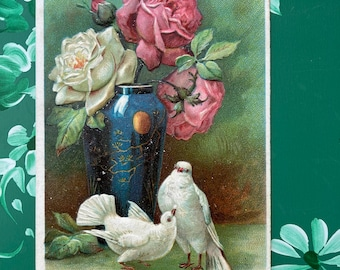 Birthday Greetings * Pink and White Roses * White Birds * Blue Vase * 1903 * Canceled Stamp * Victorian * Antique Postcard