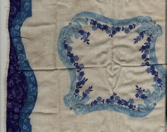 Blue and White Floral Handkerchief + Vintage Linens