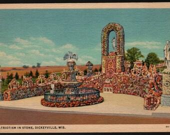 Patriotism in Stone – Dickeyville, Wisconsin – Vintage Curteich Postcard