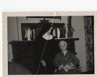 Nun with Woman in Wheelchair Photo * Vintage Photo
