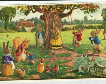 The Swing * Rabbit Family * In the Park * 259 * Racey Helps * The Medici Society * Great Britain * Vintage Postcard