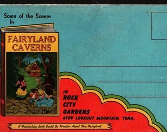Fairyland Caverns Photo Postcard Portfolio + Rock City Gardens + Vintage Souvenir Postcard Book