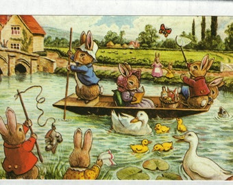 Fun on the River * Rabbits * Geese * 404 * Racey Helps * The Medici Society * Great Britain * Vintage Postcard