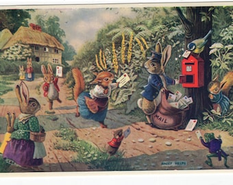 Catching the Post * Woodland Creatures * Postman * Squirrel * Rabbit * 261 * Racey Helps * Medici Society * Great Britain * Vintage Postcard