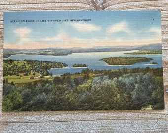 Scenic Splendor * Lake Winnipesaukee * New Hampshire * Tichnor Bros * Vintage Postcard