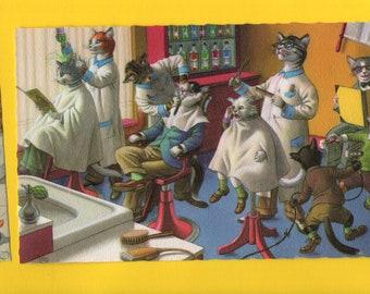Mainzer Cats * Barber Shop * 4880 * Alfred Mainzer * Eugen Hartung * Belgium * Unused * Vintage Postcard * Deckle Edge