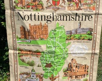 Nottinghamshire * Robin Hood * Sherwood Forest * Newark Castle * Newstead Abbey * Vintage Souvenir Tea Towel