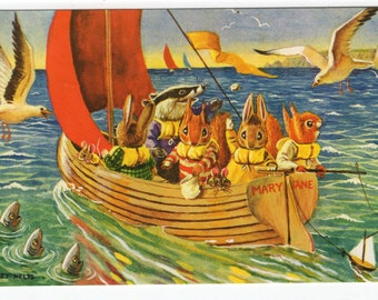 A Sail Around the Bay * Fishing * Woodland Animals * 364 * Racey Helps * The Medici Society * Great Britain * Vintage Postcard