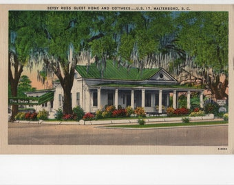 Betsy Ross Guest Home and Cottages * Walterboro * South Carolina * Canceled Stamp * 1950 * Vintage Postcard