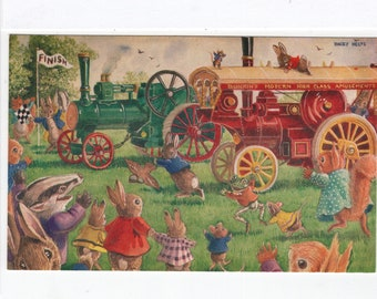 The Traction Engine Race * Rabbits * Steam Powered Train * 351 * Racey Helps * The Medici Society * Great Britain * Vintage Postcard