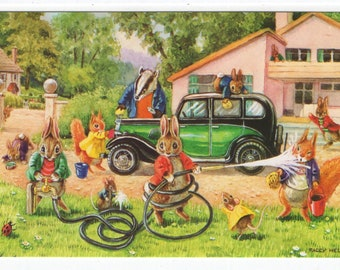 Cleaning Mr. Badger's Car *  Rabbits * Badger * Antique Car * 261 * Racey Helps * The Medici Society * Great Britain * Vintage Postcard