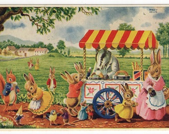 The Ice-Cream Man * Bunnies * Badger * 265 * Racey Helps * The Medici Society * Great Britain * Vintage Postcard