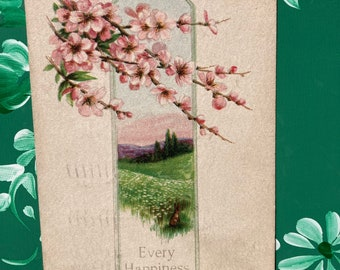 Every Happiness * Birthday * Dogwood Flowers * 1917 * Victorian * Antique Postcard0Postcard