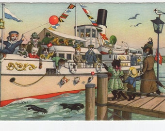 Mainzer Cats * Bon Voyage * Cat Ship * 4745 * Alfred Mainzer * Eugen Hartung * Max Kunzli * Switzerland * Unused * Vintage Postcard * Deckle