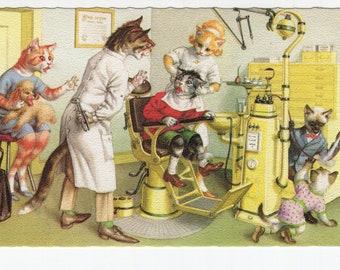 Mainzer Cats * Dentist Office * 4990 * Alfred Mainzer * Eugen Hartung * Belgium * Unused * Vintage Postcard * Deckle Edge