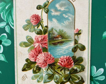 A Happy Birthday * Clover * Pretty Flowers * Rural Scene * Canceled Stamp * Victorian Postcard