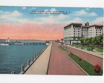 Fort Sumter Hotel * Charleston * South Carolina * Canceled Stamp * 1947 * Vintage Postcard