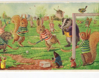 The Hockey Match * Rabbits * Squirrels * Badger * Hedgehog * 223 * Racey Helps * The Medici Society * Great Britain * Vintage Postcard