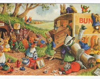 Moving Day * Rabbit Family * Moving Van * 296 * Racey Helps * The Medici Society * Great Britain * Vintage Postcard