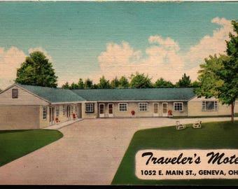 Traveler's Motel * Geneva, Ohio * Vintage Postcard