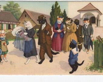 Mainzer Cats * Baptism * Christening * 4723 * Alfred Mainzer * Eugen Hartung * Max Kunzli * Switzerland * Unused * Vintage Postcard * Deckle