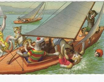 Mainzer Cats * Sail Boat Mishap * 4994 * Eugen Hartung * Belgium * Unused * Vintage Postcard * Deckle Edge