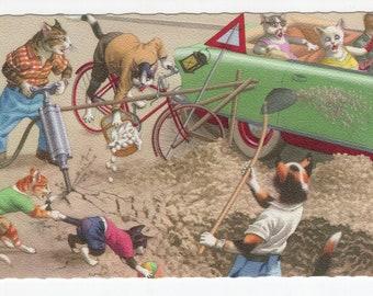 Mainzer Cats * Road Repair * 4898 * Alfred Mainzer * Eugen Hartung * Unused * Belgium * Vintage Postcard * Deckle Edge