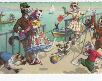 Mainzer Cats * Couple Gets a Picture Taken * 4905 * Eugen Hartung * Belgium * Unused * Vintage Postcard * Deckle Edge