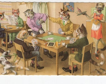 Mainzer Cats * Cats Playing Cards * 4983 * Eugen Hartung * Belgium * Unused * Vintage Postcard * Deckle Edge