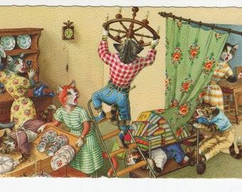 Mainzer Cats * Redecorating * 4955 * Eugen Hartung * Belgium * Unused * Vintage Postcard * Deckle Edge