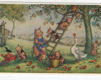 Picking Apples * Pig Family * Molly Brett * The Medici Society * Great Britain * Vintage Postcard