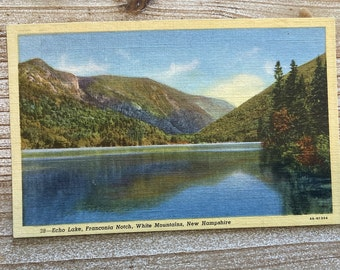 Echo Lake * Franconia Notch * White Mountains * New Hampshire * Vintage Linen Postcard