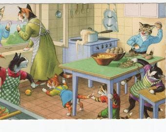 Mainzer Cats * Kitchen Chaos * 4853 * Eugen Hartung * Belgium * Unused * Vintage Postcard