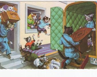 Mainzer Cats * Moving Day * 4923 * Alfred Mainzer * Eugen Hartung * Belgium * Unused * Vintage Postcard * Deckle Edge