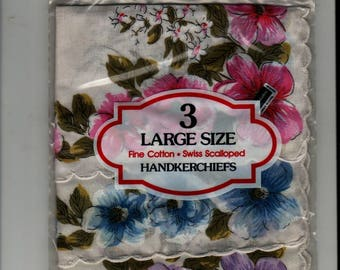 Pink, Blue, and Purple Floral Handkerchiefs – New in Package – 3 Large Size + Fine Cotton – Swiss Scalloped + Vintage Linens