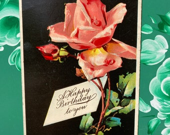 Pink Rose * Happy Birthday To You * Victorian * Antique Postcard