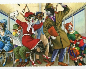 Mainzer Cats * Subway Confusion * 4733 * Alfred Mainzer * Eugen Hartung * Unused * Vintage Postcard * Deckle Edge