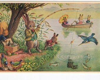 Surprise Catch * Rabbits *  Fishing * Racey Helps * The Medici Society * Great Britain * Vintage Postcard