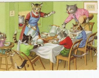 Mainzer Cats * Breakfast Time * 4850 * Alfred Mainzer * Eugen Hartung * Belgium * Unused * Vintage Postcard * Deckle Edge