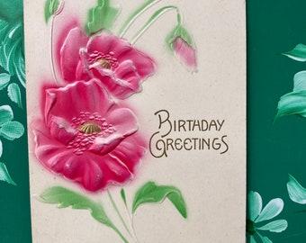Birthday Greetings * Pink Flowers * Canceled Stamp * 1909 * Embossed Victorian Postcard